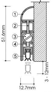 cấu tạo thanh chặn đáy cửa tự động Ravo [ bản lắp ngoài ]